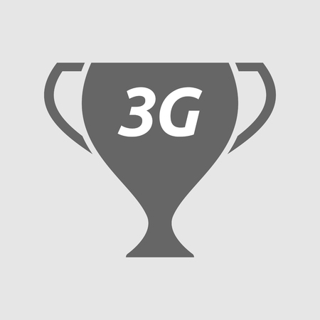 3g: Illustration of an isolated award cup with    the text 3G Illustration