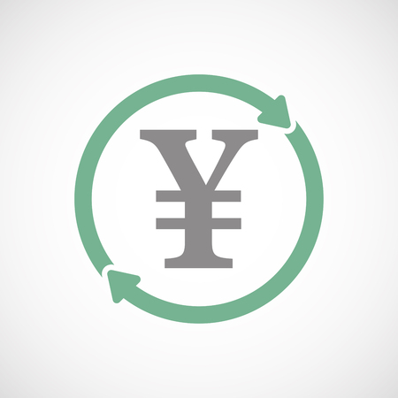 Illuatration of an isolated recycle  reuse icon with a yen sign