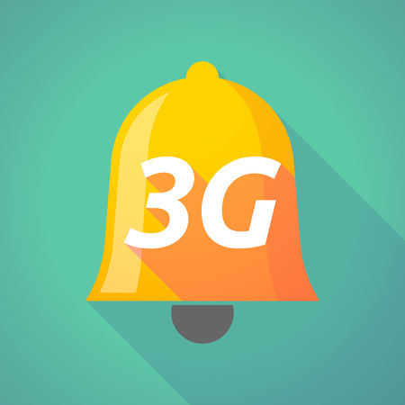 3g: Illustration of a long shadow  bell with    the text 3G