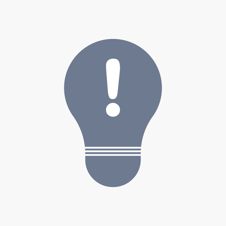Illuatration of an isolated light bulb icon with an exclamarion sign Illustration