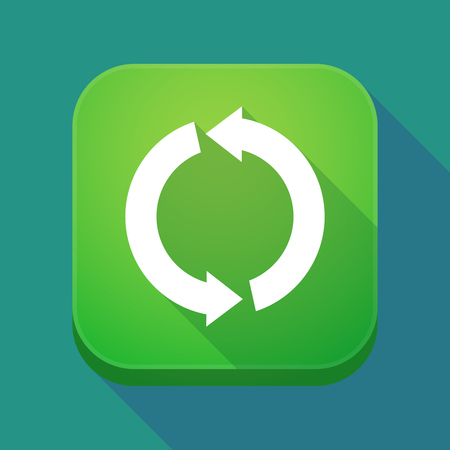 Illuatration of a long shadow app icon with a round recycle sign