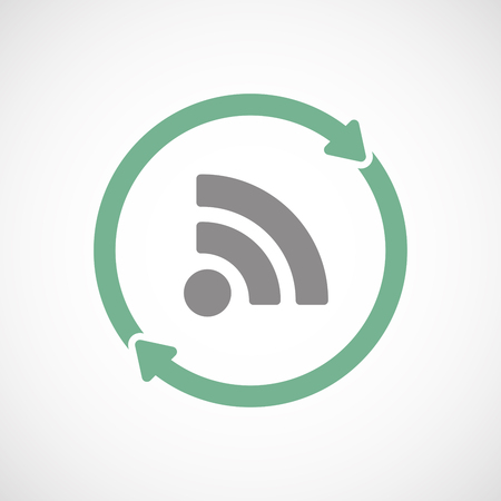 really simple syndication: Illuatration of an isolated recycle  reuse icon with an RSS sign