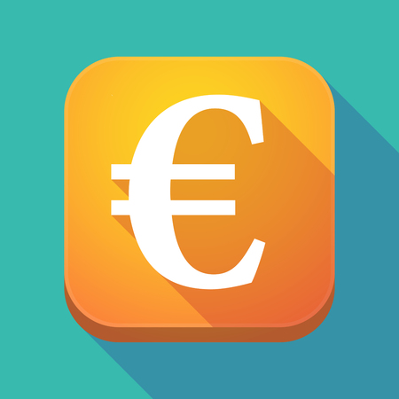 Illuatration of a long shadow app icon with an euro sign Illustration