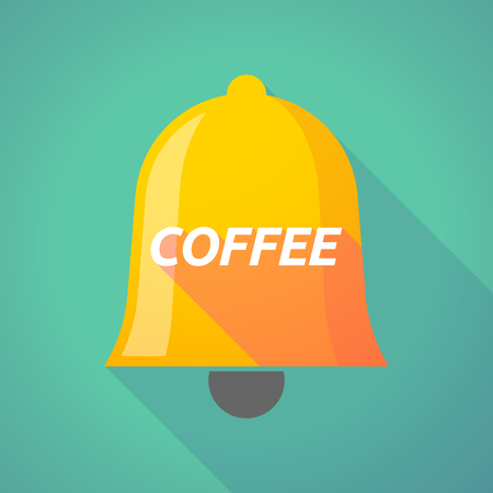 Illustration of a long shadow  bell with    the text COFFEE