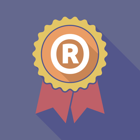 R: Illustration of a long shadow badge with    the registered trademark symbol