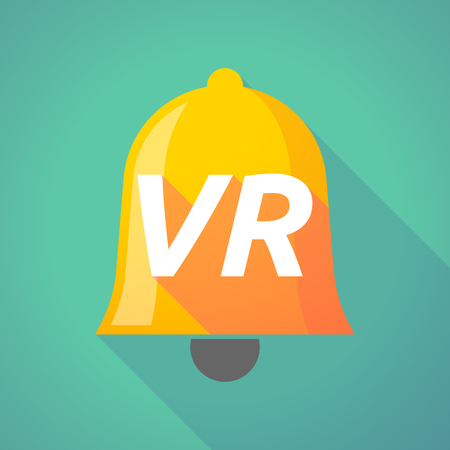 Illustration of a long shadow  bell with    the virtual reality acronym VR Illustration