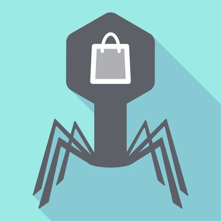 Illuatration of a long shadow virus with a shopping bag