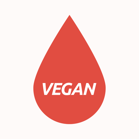 Illustration of an isolated  blood drop with    the text VEGAN Illustration