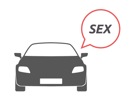 Illustration of an isolated car with a comic balloon and    the text SEX Illustration