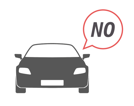 denial: Illustration of an isolated car with a comic balloon and    the text NO