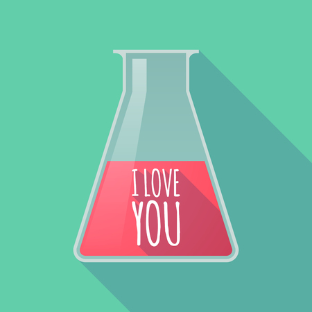 Illustration of a long shadow chemical test tube with    the text I LOVE YOU