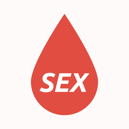 Illustration of an isolated  blood drop with    the text SEX
