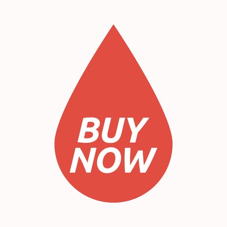 Illustration of an isolated  blood drop with    the text BUY NOW