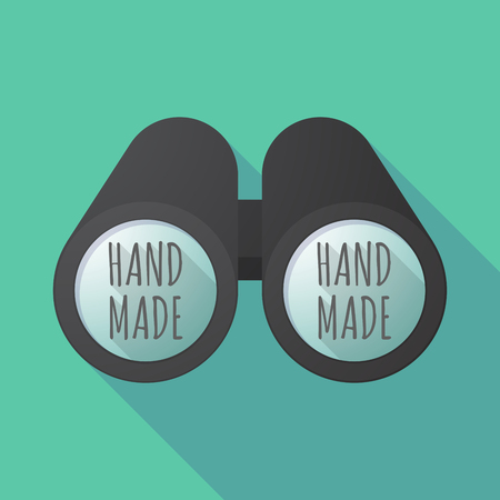 Illustration of a long shadow binoculars with    the text HAND MADE