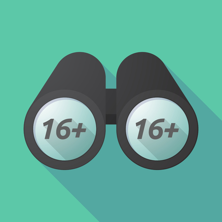 Illustration of a long shadow binoculars with    the text 16+
