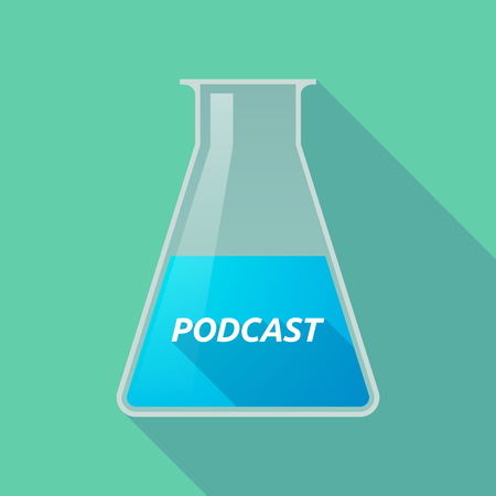 Illustration of a long shadow chemical test tube with    the text PODCAST Illustration