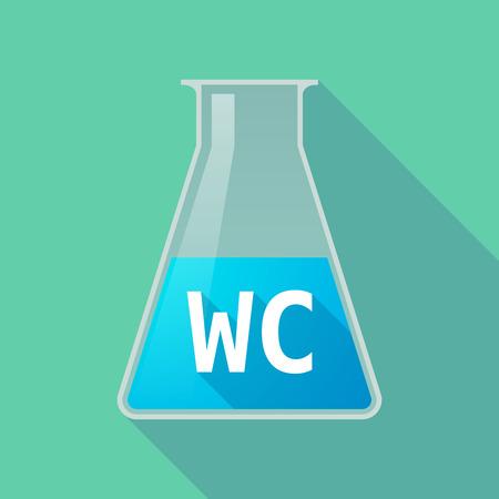 Illustration d'un tube à essai chimique à longue ombre avec le texte WC