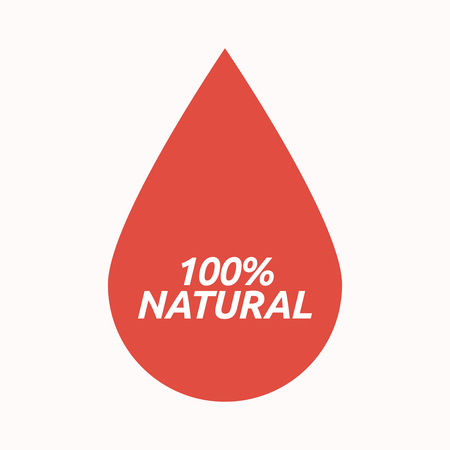 Illustration of an isolated  blood drop with    the text 100% NATURAL