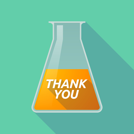 Illustration of a long shadow chemical test tube with    the text THANK YOU Illustration