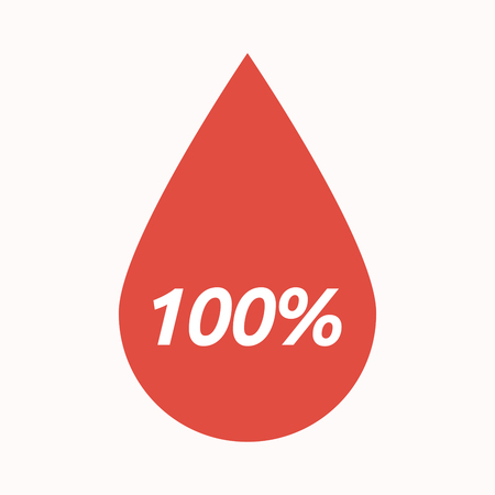 Illustration of an isolated  blood drop with    the text 100%