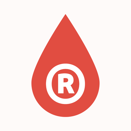 Illustration of an isolated  blood drop with    the registered trademark symbol
