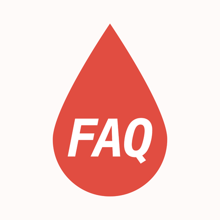 asked: Illustration of an isolated  blood drop with    the text FAQ Illustration