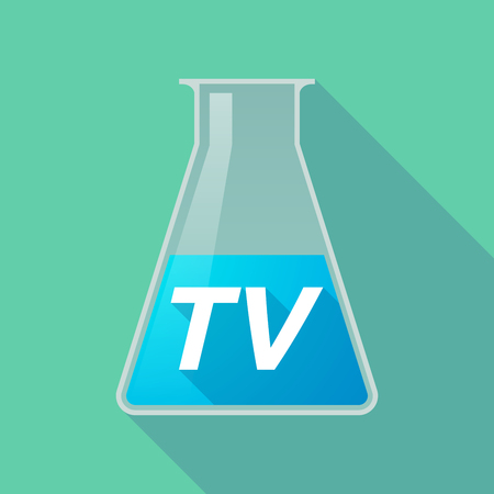 Illustration of a long shadow chemical test tube with    the text TV