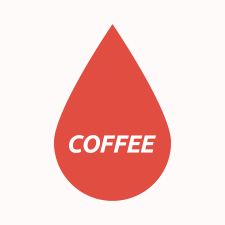Illustration of an isolated  blood drop with    the text COFFEE