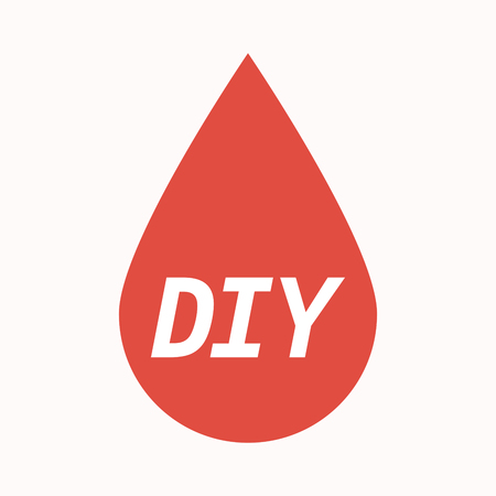 transfusion: Illustration of an isolated  blood drop with    the text DIY