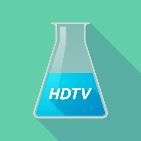 Illustration of a long shadow chemical test tube with    the text HDTV Illustration