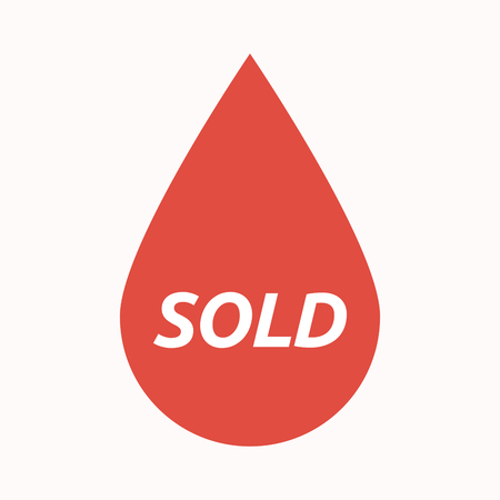 stock market quote: Illustration of an isolated  blood drop with    the text SOLD