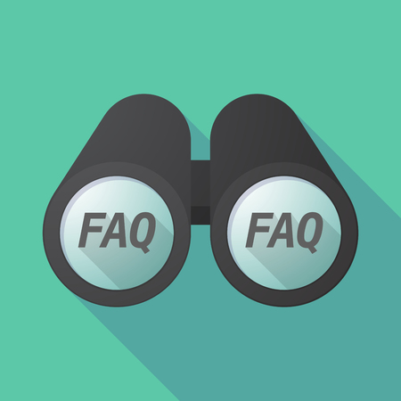 Illustration of a long shadow binoculars with    the text FAQ