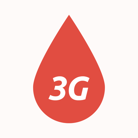 3g: Illustration of an isolated  blood drop with    the text 3G