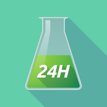 Illustration of a long shadow chemical test tube with    the text 24H Illustration