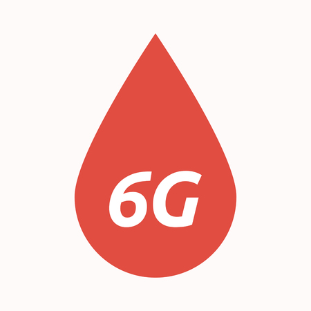 blood transfer: Illustration of an isolated  blood drop with    the text 6G Illustration