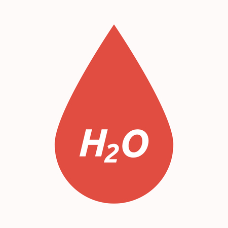 Illustration of an isolated  blood drop with    the text H2O