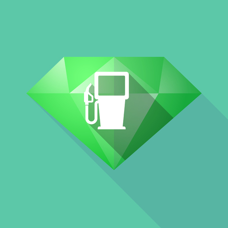 Illustration of a long shadow diamond with a gas station Illustration
