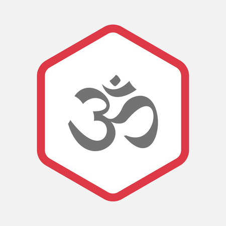 aum: Illustration of an isolated line art hexagon with an om sign