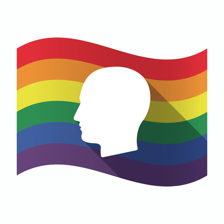 sexual orientation: Illustration of an isolated waving Gay Pride flag with a male head