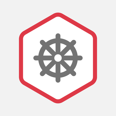 Illustration of an isolated line art hexagon with a dharma chakra sign