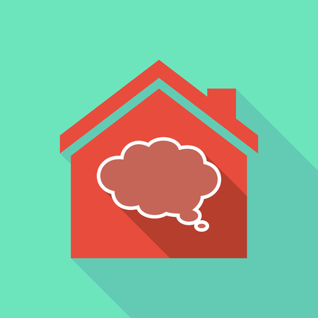 house construction: Illustration of a long shadow flat design house with a comic cloud balloon
