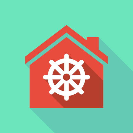 Illustration of a long shadow flat design house with a dharma chakra sign Illustration