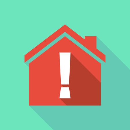 감탄 부호가있는 긴 그림자 평면 디자인 하우스의 그림 스톡 콘텐츠 - 78741996