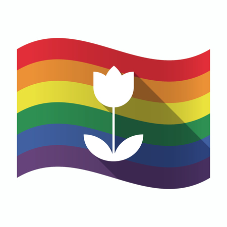 sexual orientation: Illustration of an isolated waving Gay Pride flag with a tulip