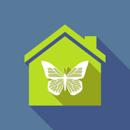 house construction: Illustration of a long shadow flat design house with a butterfly Illustration