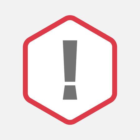 감탄 부호가있는 격리 된 라인 아트 육각형의 그림 스톡 콘텐츠 - 78742060