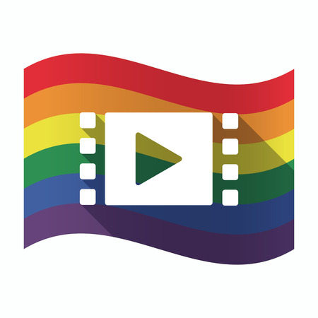 sexual orientation: Illustration of an isolated waving Gay Pride flag with a multimedia sign Illustration