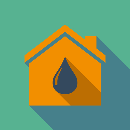 house construction: Illustration of a long shadow flat design house with a fuel drop