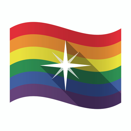 sexual orientation: Illustration of an isolated waving Gay Pride flag with a sparkle Illustration