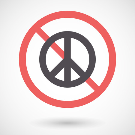 forbidden love: Illustration of an isolated forbidden signal with a peace sign